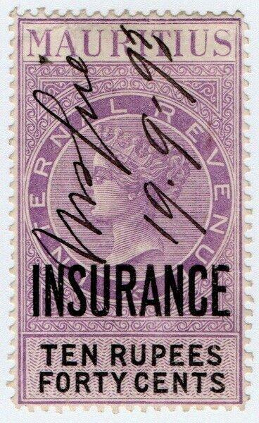 (I.B) Mauritius Revenue : Insurance 10R 40c