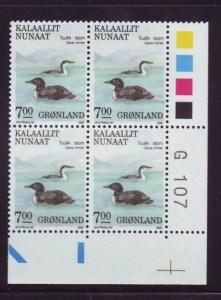 Greenland Sc 186 7.0 kr Birds stamp plate block of 4 mint NH