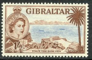 GIBRALTAR 1953 QE2 1sh Red Brown & Pale Blue SG No. 154 / Sc 141  MNH