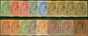 Turks & Caicos Is 1913-21 Extended set of 17 SG129-139 V.F Very Lightly Mtd Mint