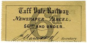 (I.B) Taff Vale Railway : Newspaper Parcel 6d