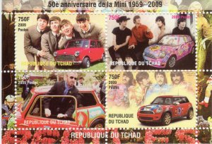 Chad 2009 THE BEATLES MINI COOPER Sheet Perforated (4) MNH