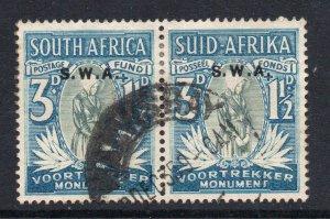South West Africa SWA 1935 Voortrekker Mem Fund 3d + 1½d SG 95 used CV £50