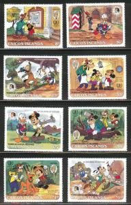 CAICOS Islands Scott 78-85 MNH** 1984 Donald Duck Christmas