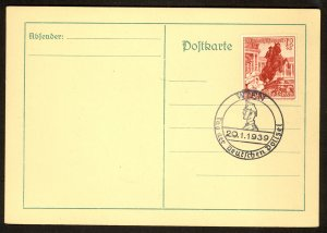 GERMANY USED IN AUSTRIA 1939 12+6pf Sc AB128 on Card w DAY OF THE GERMAN POLICE