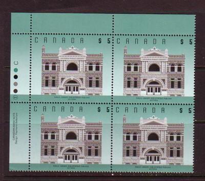 Canada Sc 1378 1996 $5 Victoria Library Plate Block of 4 mint NH