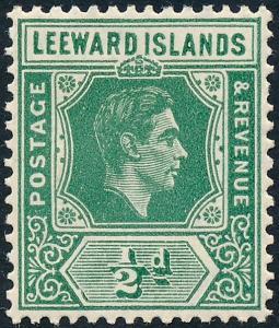 Leeward Islands 1938 ½d Emerald SG96 MH