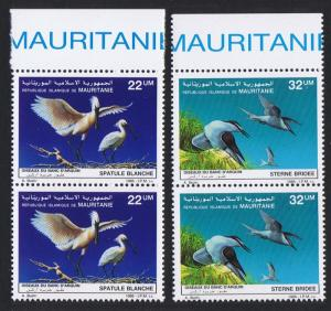 Mauritania Birds Spoonbill Terns 2v issue 1986 in pairs with Top Margin