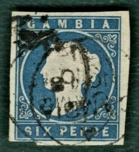 GAMBIA QV Stamp SG.7 6d (1874) CDS Used VFU Four Margins Cat £225+ GRED139