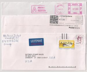 3 incoming covers to US Germany Klussendorf and other meters