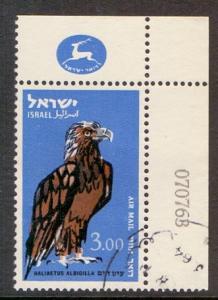 Israel 1963  Used C37 AIR  with margin birds  I£3  sea eagle   #