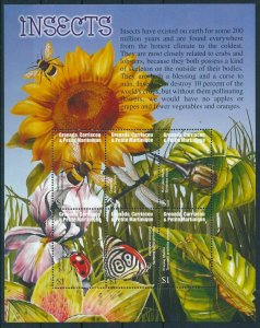 [108991] Carr. & Petite Martinique 2002 Insects butterfly beetle Mini sheet MNH