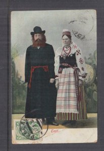 ESTONIA, 1913 ppc. Wedding Couple,  Romanov 2k. Reval to Queensland, Australia
