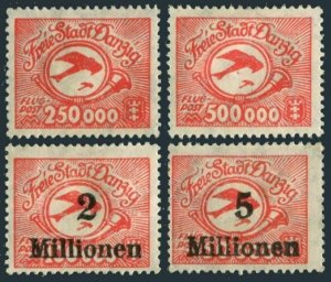 Danzig C22-C25,hinged.Michel 177-180 Air Post 1923.Post horn,Airplane.