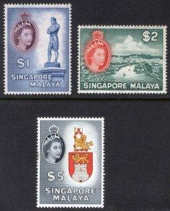 Singapore 1955 $1-$5 Pictorial SG 50-52 Scott 40-42 MNH Cat £119($146)