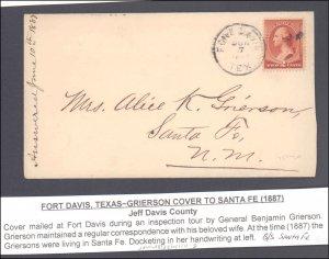 Jeff Davis County Fort Davis ( Postal History ), 1887