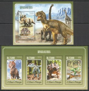 ST1619 2014 S. TOME & PRINCIPE DINOSAURS FAUNA ANIMALS KB+BL MNH STAMPS
