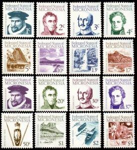 Micronesia - Sc # 5 - 20, MNH. 1984 Definitives - 16 Stamp Set.  2017 SCV $18.10