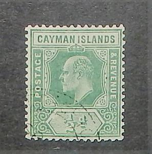 Cayman Islands 21. 1907-09 1/2p Green KEVII, used