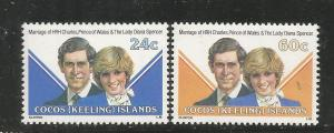 COCOS ISLANDS, 73-74, MNH, PRINCE & PRINCESS OF WALES