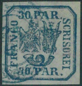 88287 -  ROMANIA - STAMPS - Yvert #  10 with BLUE postmark -  VERY FINE USED