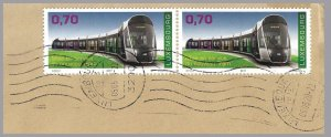 LUXEMBOURG 2017 - 70c New Tram (Train) Topical - Pair on cover - Sc 1475