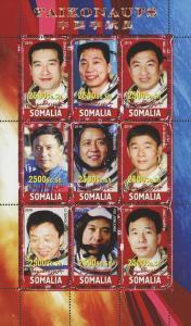 Somalia Taikonauts Astronaut Space Souvenir Sheet of 9 Stamps Mint NH