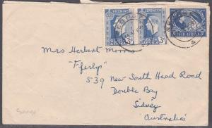 SOUTH AFRICA 1959 GVI franking cover from GEORGE to Australia................723