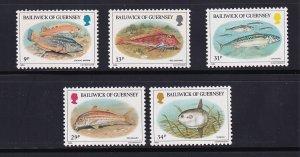 Guernsey  #308-312    MNH  1985   indigenous fish