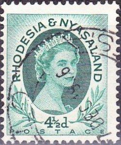 RHODESIA & NYASALAND 1956 EQII 4.5d Blue-Green SG6 FU