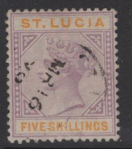 ST.LUCIA SG51 1891 5/= DULL MAUVE & ORANGE USED