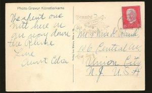 Germany 374 on PM Koln 1930 Airplane Cancel Postcard Used