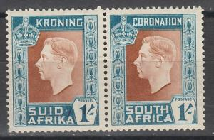 SOUTH AFRICA 1937 KGVI CORONATION 1/- PAIR VARIETY HYPHEN PART OMITTED