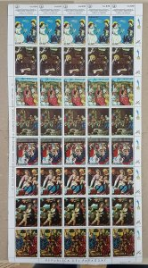 EC182 PARAGUAY ART PAINTINGS !!! MICHEL 50 EURO BIG SH FOLDED IN 3 MNH