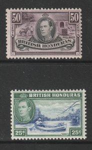 British Honduras a MH KGVI 25 & 50c