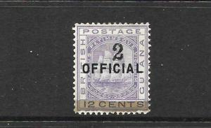 BRITISH GUIANA 1881  2 on 12c    SHIP  OFFICIAL MH      SG 156