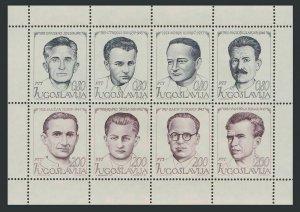 Yugoslavia 1166-1173a sheet,MNH. Republic Day,1973.National Heroes of WW II.