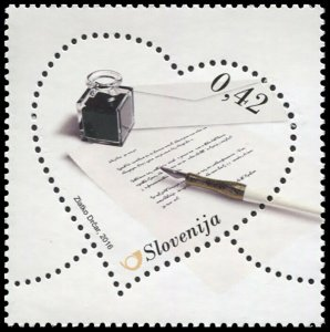 Slovenia. 2016. Love letter with fountain pen (MNH OG) Stamp
