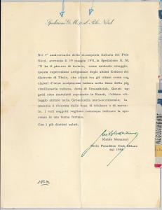 62966 - ITALY - Arctic  NORTH POLE: ITALIAN EXPEDITION LETTER 1958 Guido Monzino