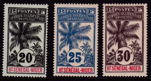 French Colony Upper Senegal & Niger 10 Stamps from the 1906-07 set  F/VF/Mint(*)