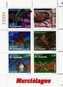 El Salvador 1999 BATS Sheet (6) Perforated Mint (NH) Scott#1510