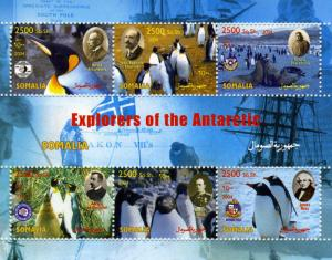 Somalia 2004 Explorers of the Antarctic Penguins Sheet Perforated Mint (NH)