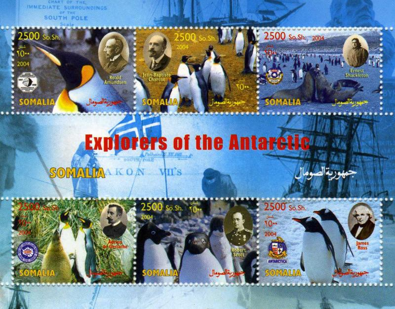 Somalia 2004 Explorers of the Antartic Penguins Sheet Perforated mnh.vf