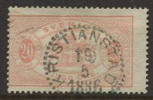 Sweden #O19 Official Stamps 1882 VFU Perf. 13 CV$