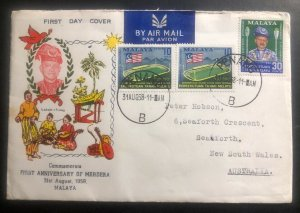 1958 Penang Malaya First Day Cover FDC To Seaforth Australia Merdeka Anniversary