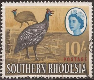 Southern Rhodesia - 1964 10sh Helmeted Guinea Fowl - Used Stamp - Scott #107