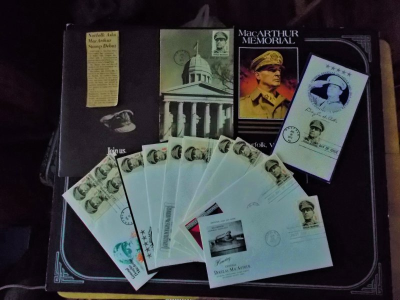 10 MACARTHUR FDC's, PAMPHLETS, POEM & NEWSPAPER CLIPPING