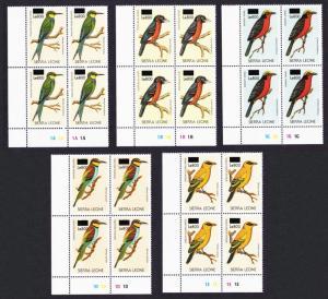 Sierra Leone Birds 5v Bottom Left Corners Blocks of 4 overprint RARR