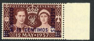GREAT BRITAIN OFFICES IN MOROCCO 1937 KGVI CORONATION Sp Currency Sc No. 82 MNH