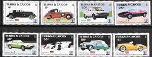 Turks & Caicos Islands #605-612 Classic Cars (MNH)  CV$10.00